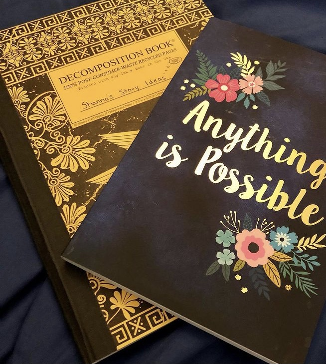 """Picture of two notebooks laying on top of a blue blanket. One is in an ancient Greek style and says: Decomposition book - Shanna's Story Ideas. The other book says """"Anything is Possible""""."""